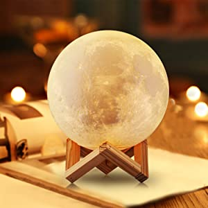 Gahaya Moon Lamp, 3D Printed Light, Touch Control, Stepless Dimmable, Warm White & Cool White, PLA material, USB Recharge, 7.1/18cm Diameters (Color: Wood Stand, Tamaño: 7.1/18cm)