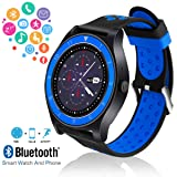 Smart Watch,Bluetooth Smartwatch Touch Screen Wrist Watch with Camera/SIM Card Slot,Waterproof Phone Smart Watch Sports Fitness Tracker Compatible Android Phone iOS Phones for Men Women Kids (Color: Blue)