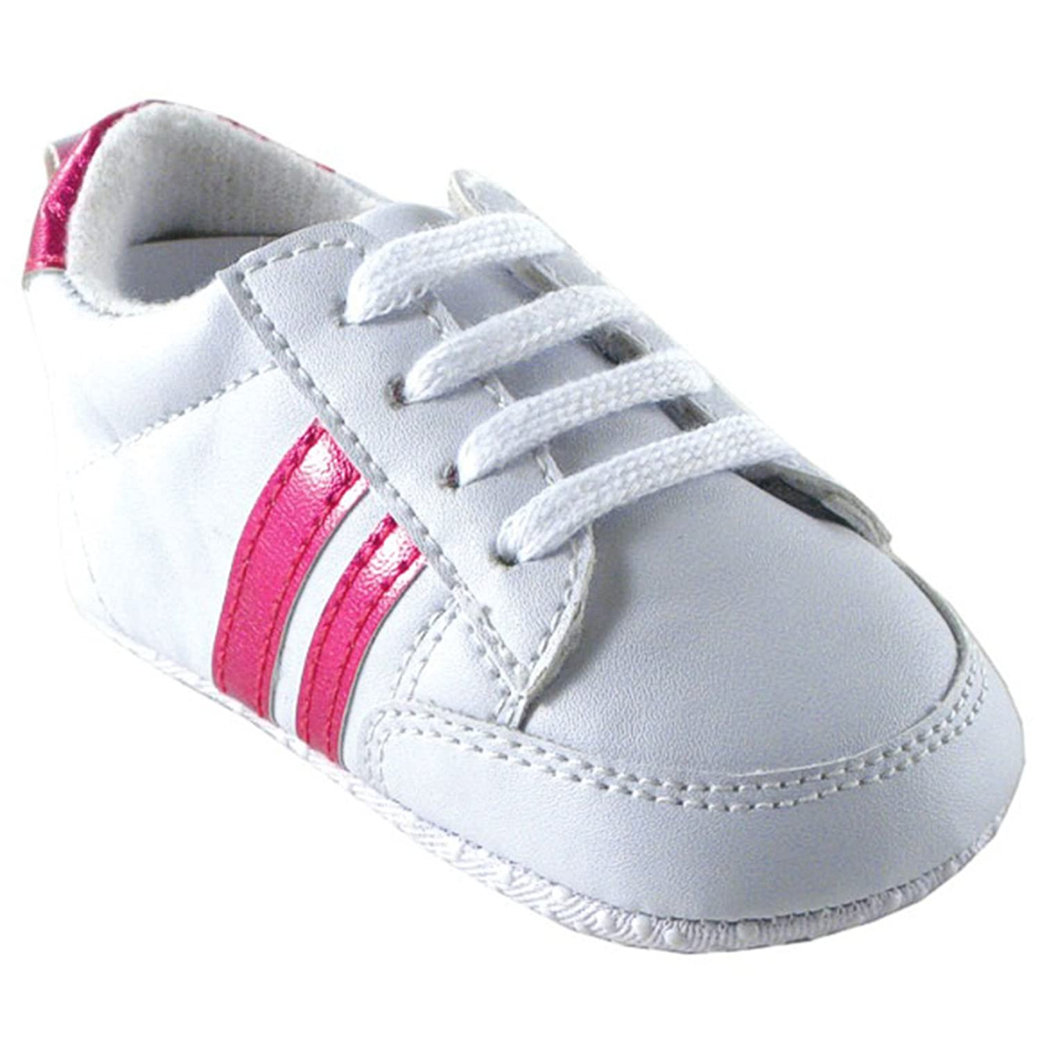 Luvable Friends Basic Stripe Sneaker, Pink, 6-12 Months