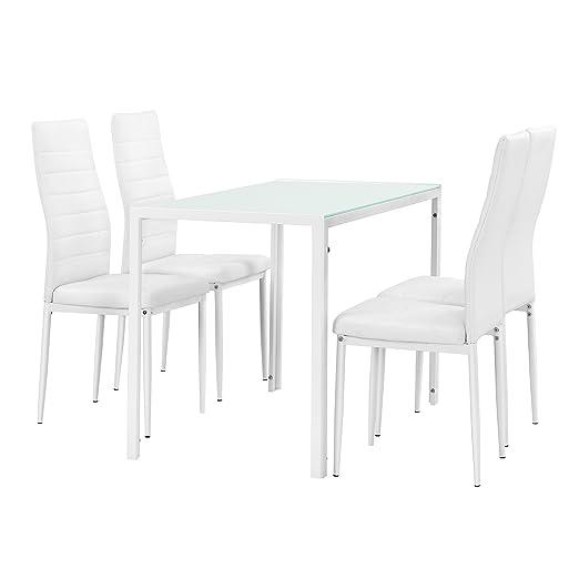 [en.casa] Moderner Esstisch weiß + 4er Stuhlset weiß