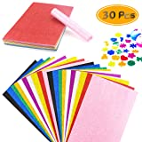 BcPowr 30PCS EVA Glitter Craft Foam Sheets, Foamie Sheets Rainbow Foam Handicraft Sheets Crafting Sponge For Arts DIY Projects, Classroom, Scrapbooking, Parties Thick & Soft Paper (10 Color, 12