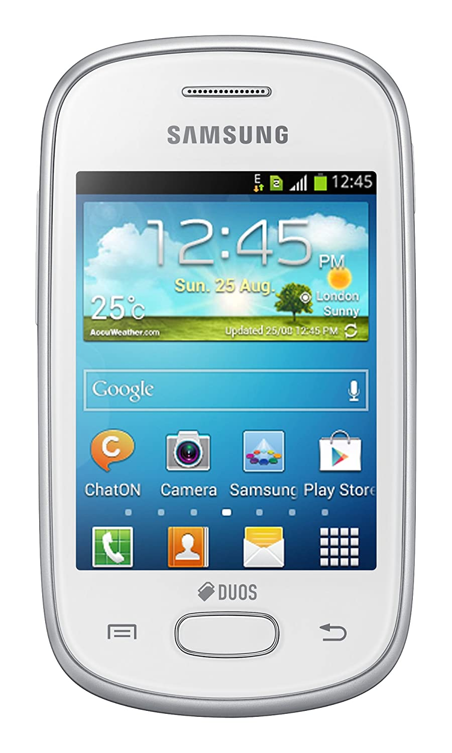 Samsung Galaxy Star Duos S5282, Dual SIM, Factory Unlocked Android SmartPhone - International Version, No Warranty (White)