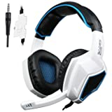 Sades SA920 3.5mm Wired Stereo Gaming Over Ear Headset with Microphone and Revolution Volume Control for Xbox One / Xbox 360 / PS4 / PC /Cell phones / iPad (Black/White) (Color: WHITE)