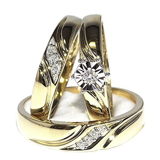 Rings-MidwestJewellery.com Women's Trio Rings Set 0.12Cttw