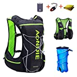 TRIWONDER Hydration Pack Backpack 10L Deluxe Running Race Hydration Vest Outdoors Mochilas for Marathon Running Cycling Hiking (Black&Green - with 2L Water Bladder, L-XL) (Color: Black&Green - with 2L Water Bladder, Tamaño: L/XL - 38.2-42.9in)