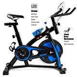 XtremepowerUS Indoor Cycle Trainer Fitness Bicycle Stationary (Blue and black) (Color: Blue and black)