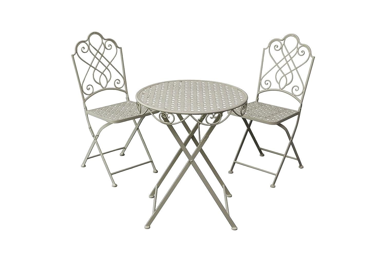 Gardman Gartenmöbel Bistro Set, Klapp-Garnitur für 2 Personen, beige