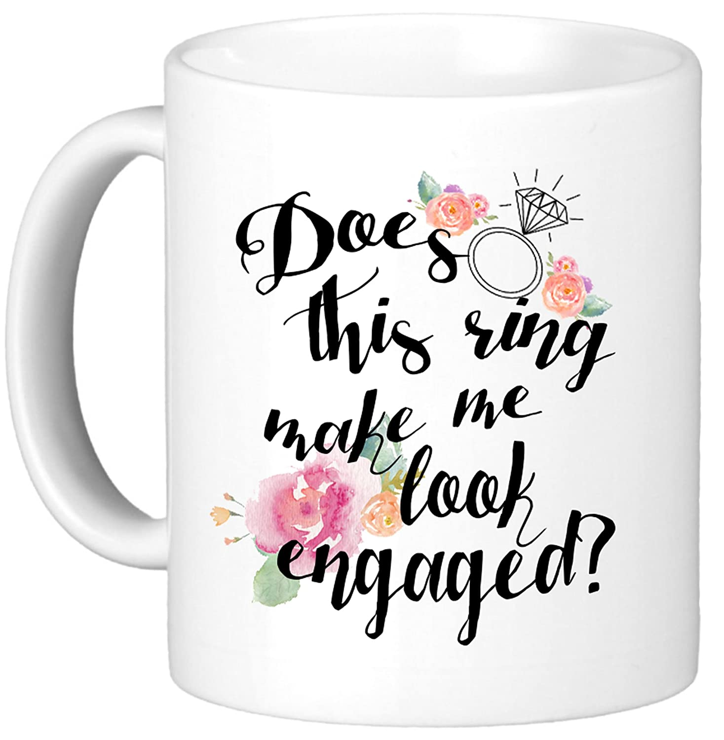 Oh, Susannah® DOES THIS RING MAKE ME LOOK ENGAGED? 11oz Engagement Mug In White Gift Box – Funny Mug
