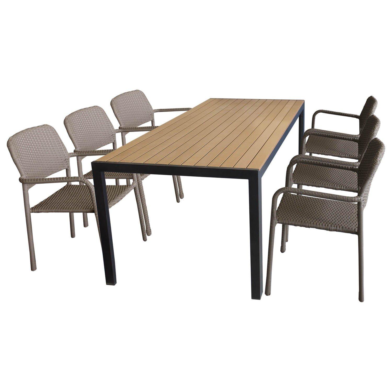 7tlg. Gartengarnitur – Gartentisch mit brauner Polywood Tischplatte 205x90cm + 6x Rattan Stapelstuhl Taupe mit hochwertiger Polyrattanbespannung – Sitzgarnitur Sitzgruppe Gartenmöbel Terrassenmöbel Set kaufen
