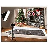 7x5 ft Christmas Photography Backdrop for Children Christmas Tree and Three Gift Socks Hang Fireplace Photo Background (Color: christmas2, Tamaño: 7x5ft)