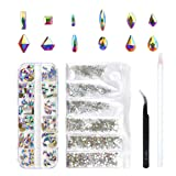 120 Pcs Multi Shapes Glass Crystal AB Rhinestones For Nail Art Craft, Mix 12 Style FlatBack Crystals 3D Decorations Flat Back Stones Gems Set (120 pcs Crystals+1728 pcs rhinestones) (Color: 120 pcs Crystals+1728 pcs rhinestones, Tamaño: Mix 12 Shape)
