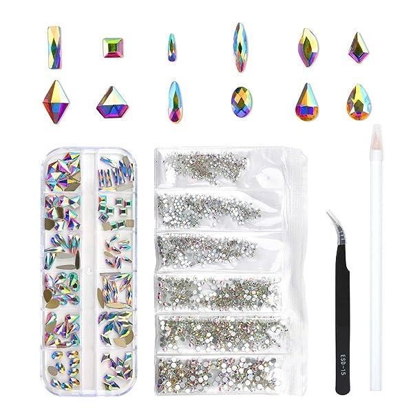 120 Pcs Multi Shapes Glass Crystal AB Rhinestones For Nail Art Craft, Mix 12 Style FlatBack Crystals 3D Decorations Flat Back Stones Gems Set (120 pcs Crystals+1728 pcs rhinestones) (Color: 120 pcs Crystals+1728 pcs rhinestones, Tamaño: Mix 12 Shape)