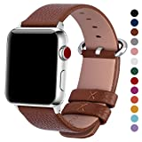 15 Colors for Apple Watch Bands, Fullmosa Yan Calf Leather Replacement Band/Strap for iWatch Series 3, Series 2, Series 1, Sport and Edition Versions 2015 2016 2017, 38mm Brown (Color: Brown+silver buckle, Tamaño: 38mm(40mm for Series 4))