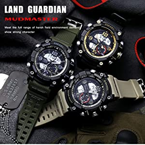 KXAITO Men's Watches Sports Outdoor Waterproof Military Watch Date Multi Function Tactics LED Alarm Stopwatch (05_Orange) (Color: 05_Orange, Tamaño: large)