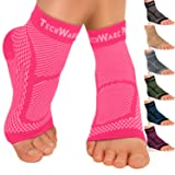 TechWare Pro Ankle Brace Compression Sleeve - Relieves Achilles Tendonitis, Joint Pain. Plantar Fasciitis Foot Sock with Arch Support Reduces Swelling & Heel Spur Pain. Injury Recovery for Sports (Color: Pink, Tamaño: L / XL (Women 7.0 - 10.5/ Men 6.0 - 9.5))
