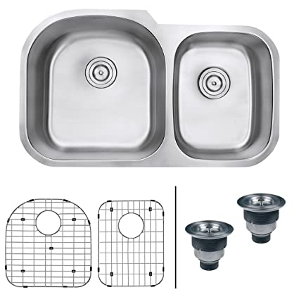 "Ruvati RVM4600 Undermount 16 Gauge 34"" Kitchen Sink Double Bowl"