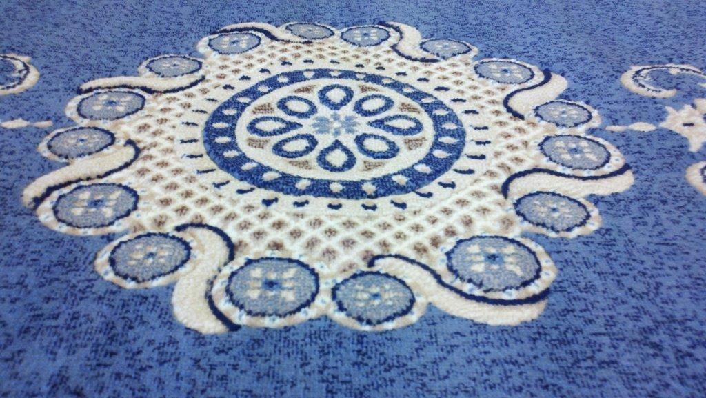 Traditional Octagon Persian Area Rug Light Blue Design 121 Americana (4 Feet X 4 Feet )