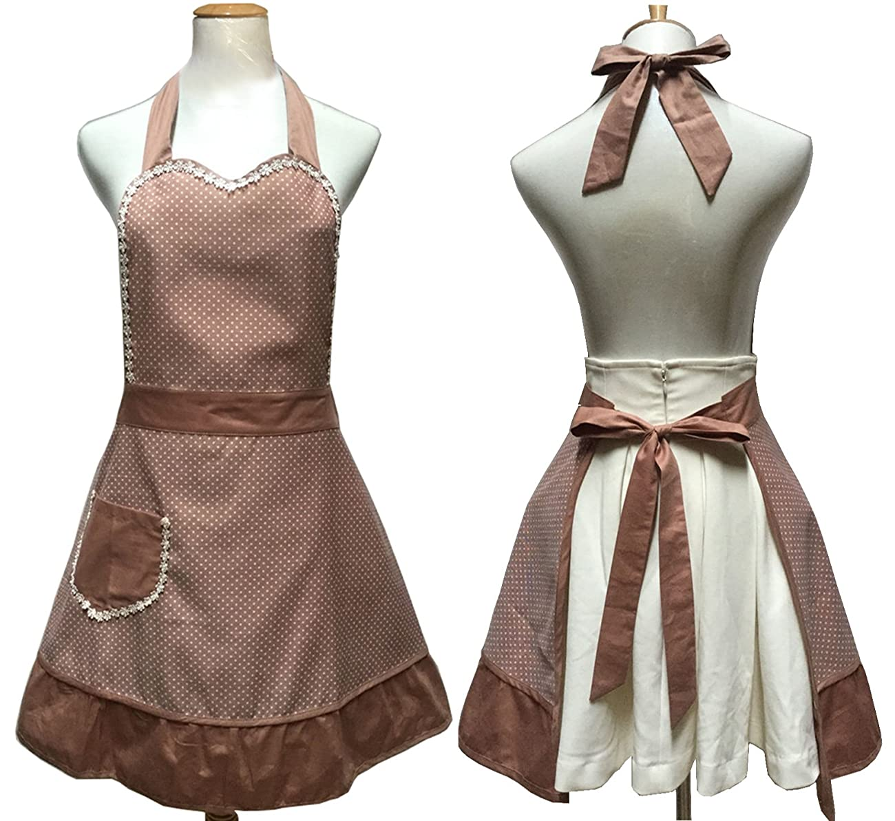 Lovely Sweetheart Retro Kitchen Aprons Woman Girl Cotton Cooking Salon Pinafore Vintage Apron Dress with Pocket,Brown 0