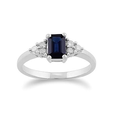 Gemondo Sapphire Ring, 9ct White Gold 0.88ct Blue Sapphire & Diamond Ring