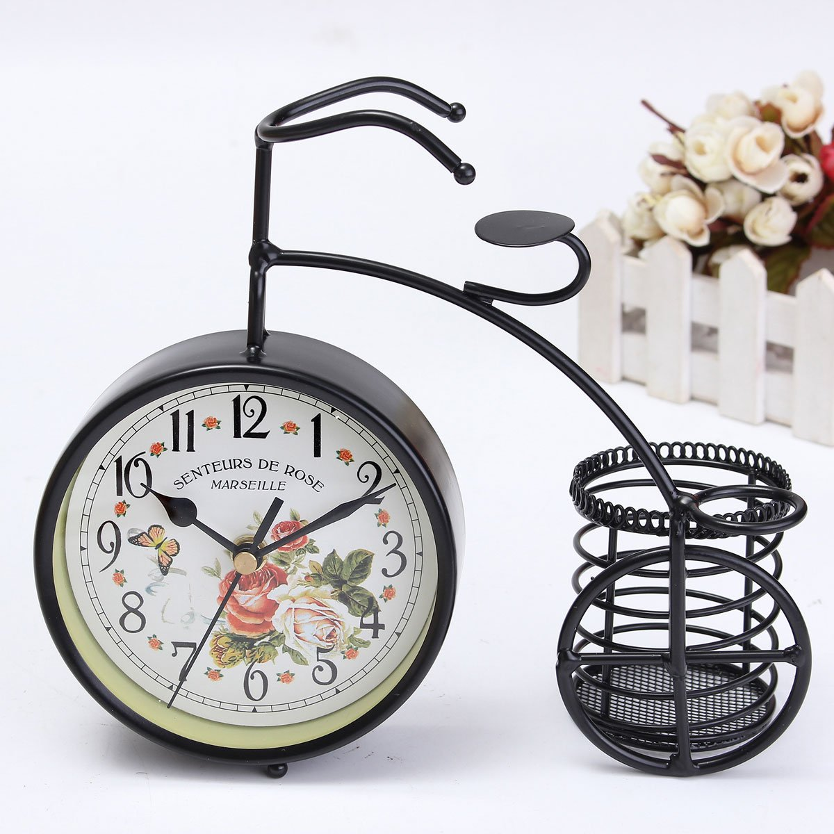 BABAN Creative Alarm Clock With Brush Pot Bicycle Shape Retro Alarm Clock Classic Small Round Silent 2
