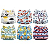 Mama Koala One Size Baby Washable Reusable Pocket Cloth Diapers, 6 Pack with 6 One Size Microfiber Inserts (Summer Sweetness) (Color: Summer Sweetness, Tamaño: One Size)