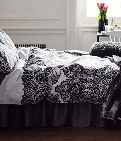 French Country Style Floral Lace Print Duvet Cover and Pillowcase 2pc Set Twin Single Size 100% Cotton Gray Black Grey Girly Bedding