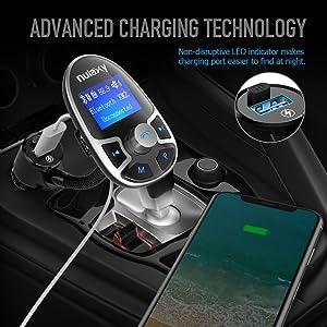Nulaxy Bluetooth Car FM Transmitter Wireless Audio Adapter Receiver Handsfree Voltmeter Car Kit TF Card AUX USB 1.44 Display On/Off Button EQ Folder P