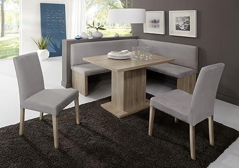 Dreams4Home Eckbankgruppe 'Denver' Essgruppe 160 x 140 x 88 cm Tisch 2 Stuhle modern Sonoma Eiche Dekor grau Eckbank Kuchentisch 4-teilig Landhaus Kuche