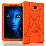 Armera Samsung Galaxy Tab A 10.1 Case (SM-T580), High Impact Resistant Slim Heavy Duty Anti Slip Light Weight Kids Friendly Shockproof Protective Rugged Silicone Cover (Diamond - Orange)
