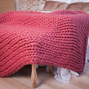 Giant Wool Yarn Chunky Merino Arm Knitting Super Soft Wool Yarn Bulky Wool Roving Rose 6.6 lbs (Color: Rose, Tamaño: 6.6 lbs)