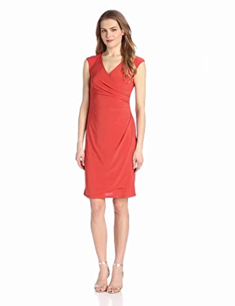 Tiana B Women's Solid Jersey Surplus Dress with Shirred Overlay At Side, Spice, Large