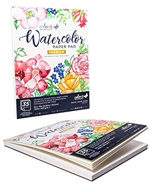 ColorIt 9x12 Watercolor Paper Sketch Pad, 70 Sheets Total, Mixed Media Use,140lb/300g Cold Press Painting Paper White, 2 Pack (Tamaño: 9-x-12-Inch)