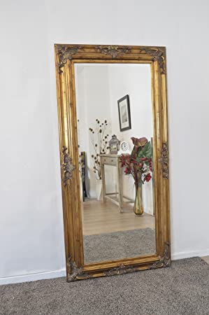 Large Gold Antique Aged Detail Bevelled Dress Mirror
