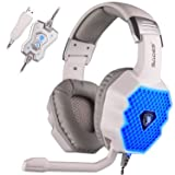 Sades A70 Wired USB 7.1 Virtual Surround Stereo Sound Gaming Headset Over-ear Lightweight Gaming Headphones With Mic LED Dazzle Light for PC (White) (Color: A70-white)