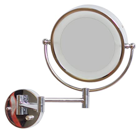 American Imaginations AI-12-557 Round LED Mirror with Light Dimmer and Dual 1x/5x Zoom, 8.5-Inch