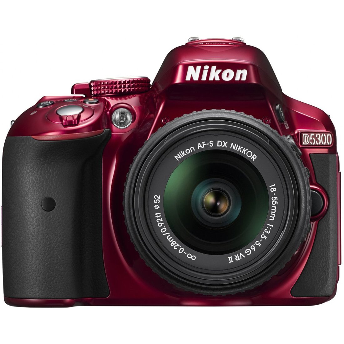 Nikon D5300 24.2 MP CMOS Digital SLR Camera with 18-55mm f/3.5-5.6G ED VR II Auto Focus-S DX NIKKOR Zoom Lens (Red)(Certified Refurbished)