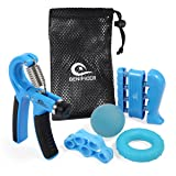 Hand Gripper Strengthener 5 PackAdjustable Hand Grip Resistance Finger Exerciser, Finger Stretcher,Hand Therapy Ball & Exercise Ring Hand Finger Wrist Forearm Therapy Exerciser by Benificer (Color: blue)