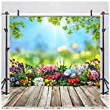 AIIKES 8x8FT Spring Flowers Photography Backdrop Vinyl Leaves Wooden Floor Easter Photography Background Newborn Children Baby Birthday Party Decoration for Photo Studio 11-452 (Color: 11-452 8x8FT, Tamaño: 8x8FT)