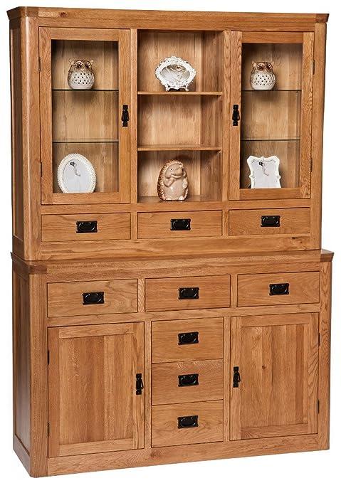 London Solid Oak Large Dresser Display Cabinet in Dark Oak Finish | Wide Wooden Storage Cupboard
