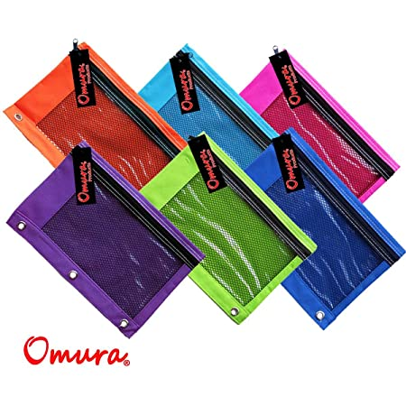 OMURA COLORFUL PENCIL POUCH with Mesh Window, Zippered & Standard 3-Ring Binder, Pack 6 pcs