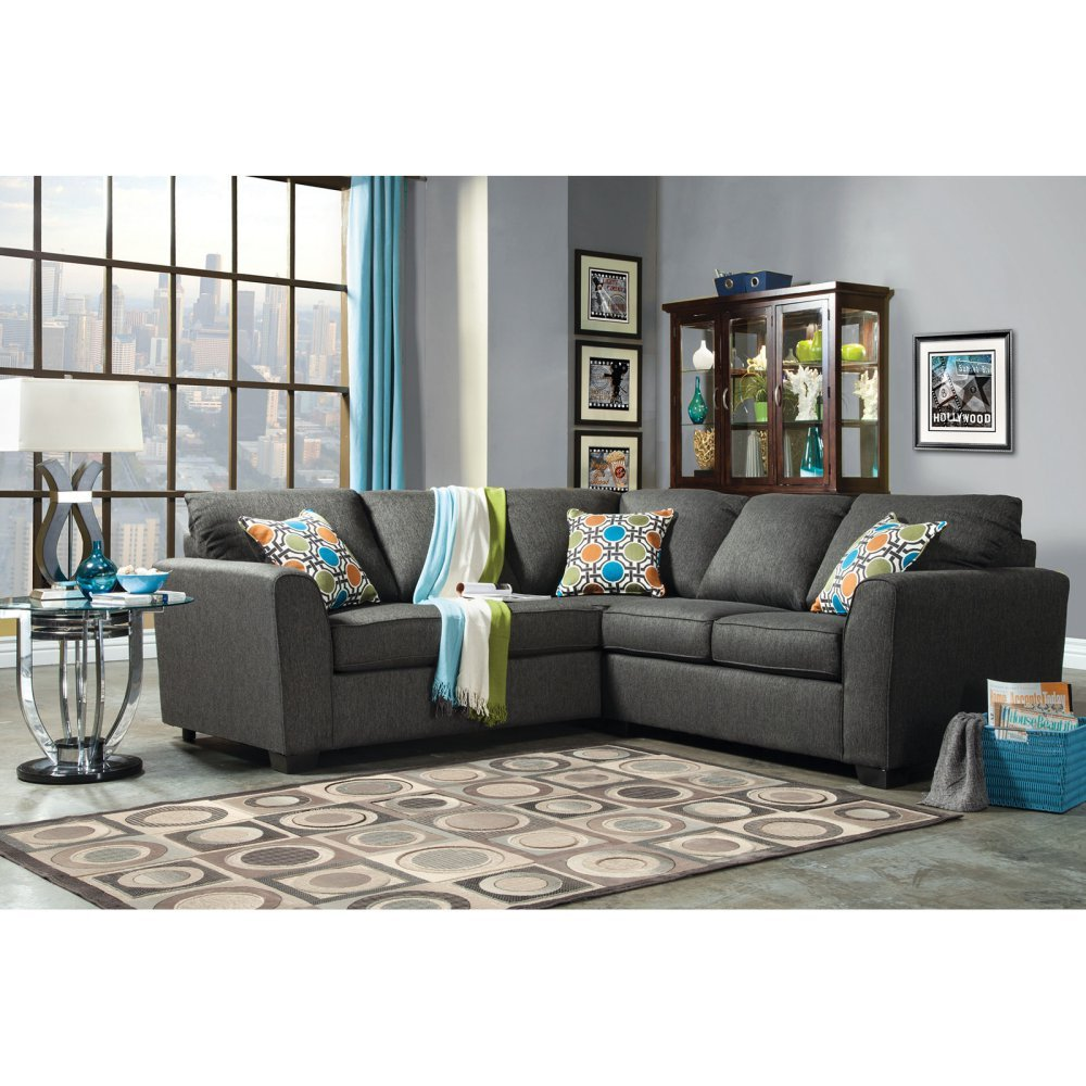 Furniture of America Parker 2-Piece Fabric Sectional Sofa -