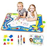 Toyk AquaDoodle Drawing Mat - Kids Painting Writing Doodle Board Toy - Color Aqua Magic Mat 3 Magic Pens Educational Age Toys for 1 2 3 4 5 6 7 8 9 10