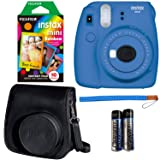 Fujifilm Instax Mini 9 Instant Camera - Cobalt Blue, Fujifilm Instax Rainbow Instant Mini Film (10 Pack), and Fujifilm Instax Groovy Camera Case - Black (Color: Cobalt Blue Kit, Tamaño: 10 Prints)