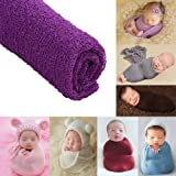 Newborn Baby Photography Shoot Props Outfits Baby Scarf Luxury Stretch Wrap Yarn Cloth Blanket Photo Props(Deep Purple) (Color: Deep Purple, Tamaño: 0-12 Months)