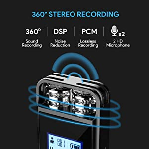 Digital Voice Recorder,TENSAFEE 16GB Activated Sound Audio Recorder Dictaphone,Portable HD USB digital Recorder with Double Microphone Support TF Card 32G Expand for Lectures/Meetings/Interviews/Class (Color: Black, Tamaño: 16G)