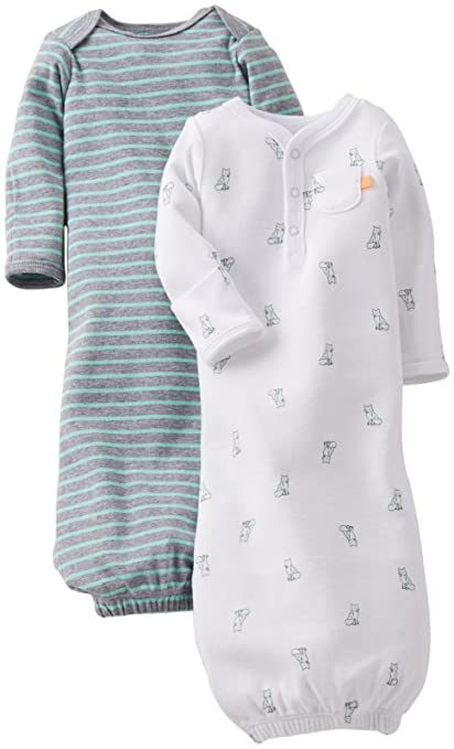 Amazon.com: Carter's Baby Boys' 2 Pack Gowns (Baby) - White/Green - White - One Size: Baby