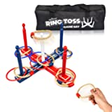 Ring Toss Game Set – Wooden Yard Game – 8 Ropes and 8 Plastic Rings – For Adults & Kids – Ideal for Indoor/Outdoor – Improves Eye-Hand Coordination - Quoits Set for All Parties and Events – Carry Bag