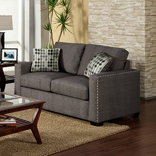 Furniture of America Madrid Fabric Loveseat with Nailhead Trim - Charcoal