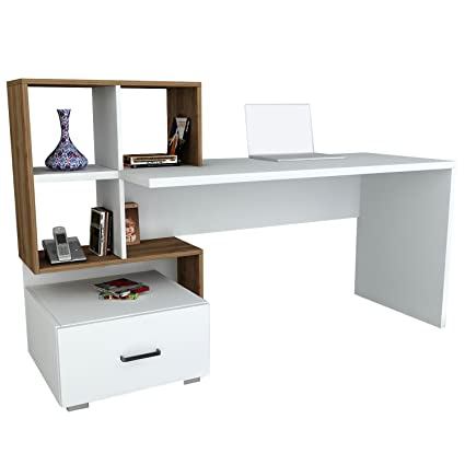 Bureau table bureau Table de travail Bloom dans blanc de noyer Marron