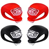 Malker Bicycle Light Front and Rear Silicone LED Bike Light Set - Bike Headlight and Taillight,Waterproof & Safety Road,Mountain Bike Lights,Batteries Included (2pcs Red & 2pcs Black) (Color: 2pcs Red & 2pcs Black)